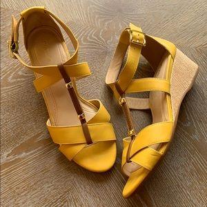 NURTURE Nayomi Yellow Leather Wedge Strap Sandals